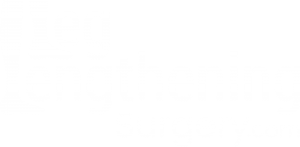 A logo with the words LegLengtheningSurgery.com in white with human legs as the L's.