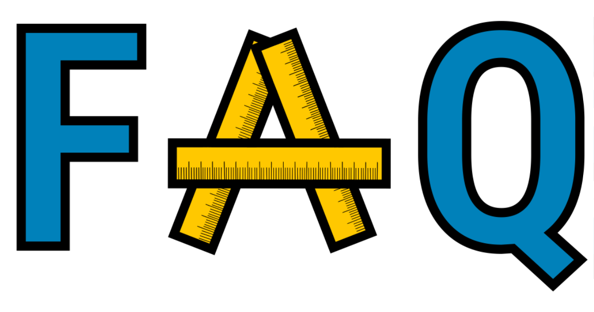 The letters FAQ where the A is made with measuring rulers.