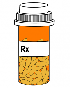 A medicine bottle with the letters rx on the side and pain pill inside.