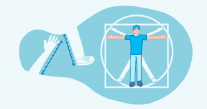 A man with his arms at a T and depicted inside a circle and a square with measuring tapes near his arms and legs