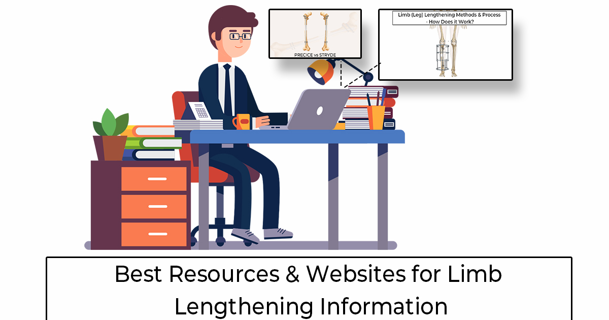 A man sitting at a desk researching limb lengthening surgery websites for resources and information on how it works, or if it's right for him.