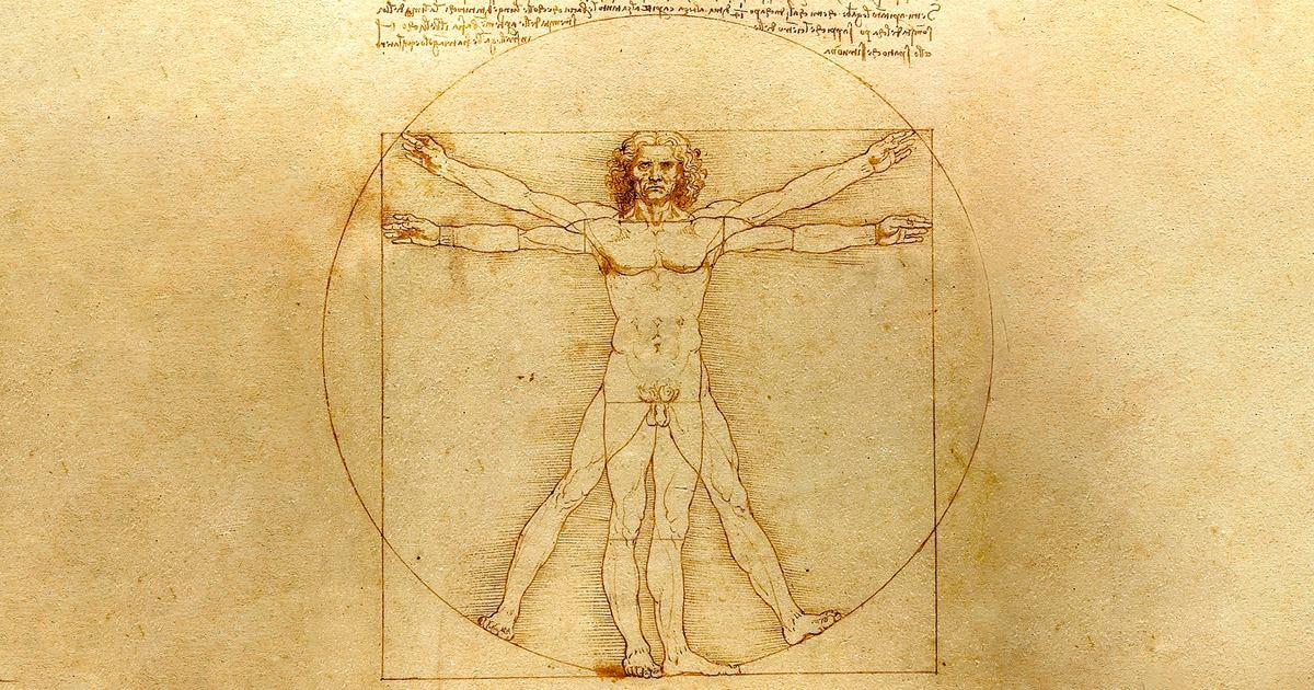 A man with his arms out in a T which fits perfectly inside a circle and square indicating perfect body proportions.