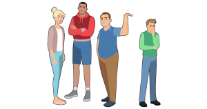 Three taller people standing in a group and ostracizing a shorter person who is standing on their own. One tall person has their hand out to compare his height to the shorter preson, essentially mocking the person of shorter stature.