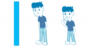 A before and after picture of a man who underwent height reduction surgery or bone shortening. The before picture he's standing next to a measuring stick and frowning, but to the right the same man is shorter and has his thumbs up. Both men have their femurs and tibias showing, but the shorter man has smaller bones due to surgery.