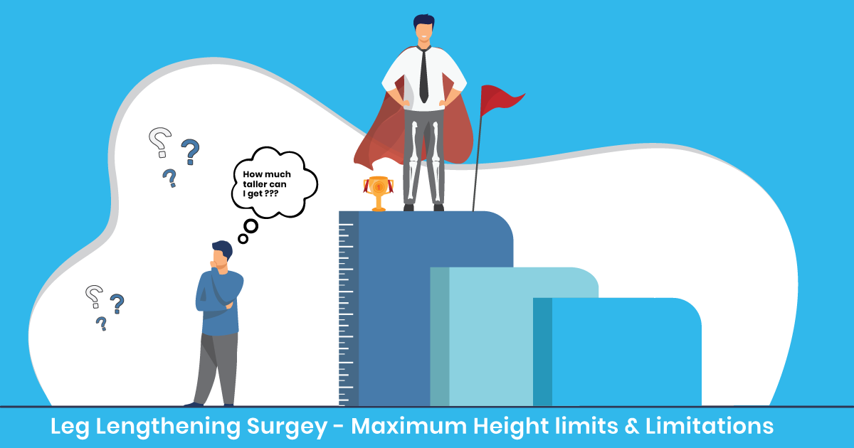 """A man standing on top of a podium with his bones showing in his legs and a trophy next to him. While another man below him stands next to a measuring stick and a through bubble above his head saying """"How much taller can I get?""""."""