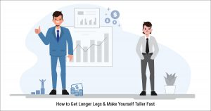 A man with long legs with a thumbs up who is reaping the benefits of being tall and a shorter man frowning or wishing he had longer legs.