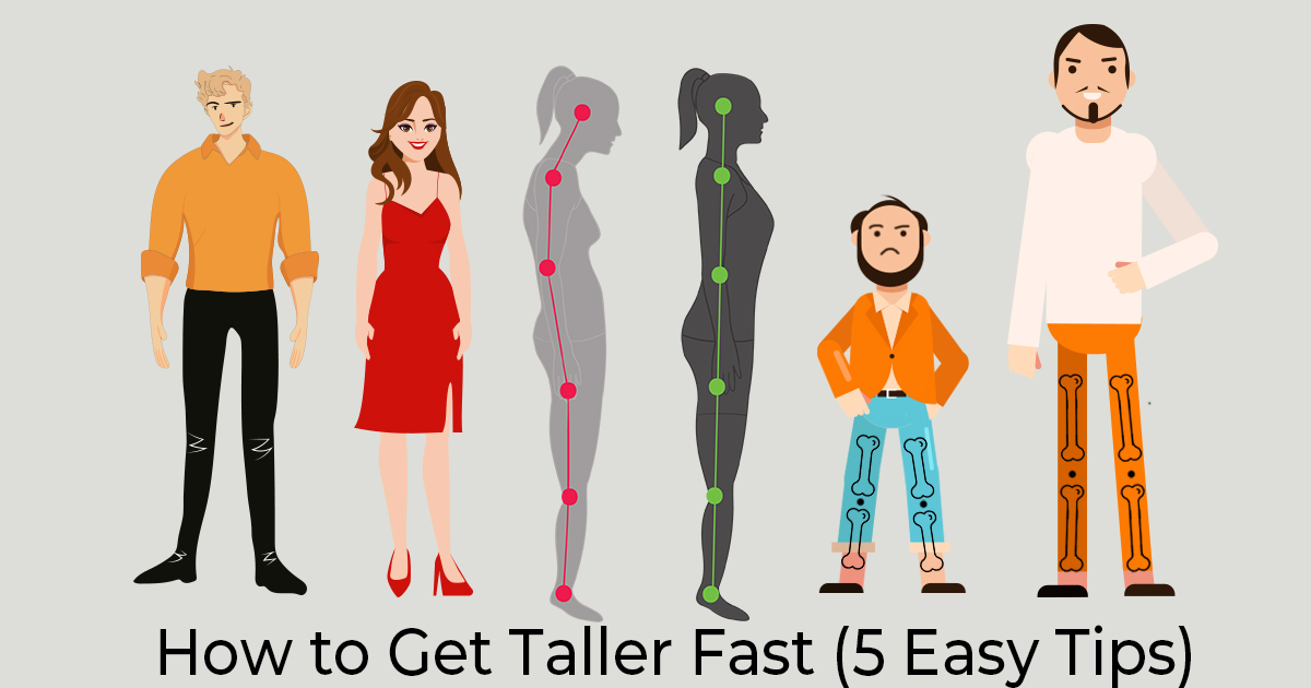 A man with heel lifts in his shoes, a woman with high heels on or elevator shoes, another woman improving her posture, and lastly a man who underwent leg lengthening or height increasing surgery.