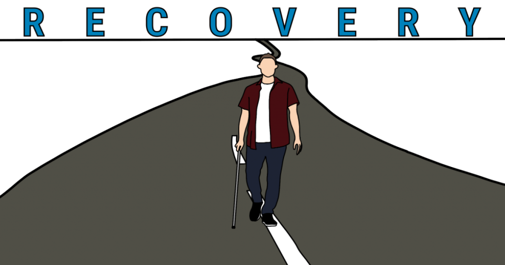 """A man walking down the road with a cane and the word """"recovery"""" above him."""