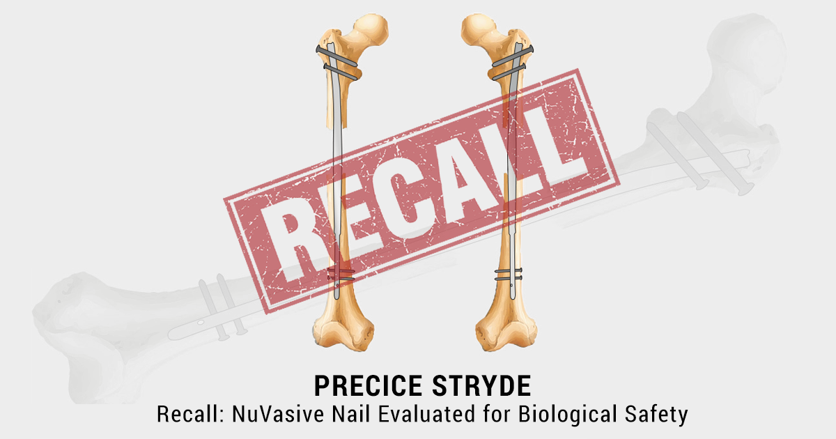 Two femurs with the stryde intramedullary nail or rod in the medullary cavity of each and a recall stamp over the entire image.
