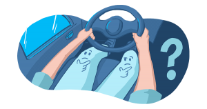 A man is driving a car with faces on his legs making a questioning expression.