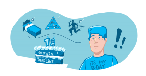 """A man stands next to a birthday cake that says """"growth deadline"""" and other symbols showing that sleep, nutrition, and exercise can help some gain height if their growth plates aren't fused."""